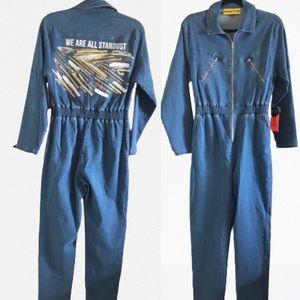 NEW custom Denim Front Zip Jumpsuit Stardust